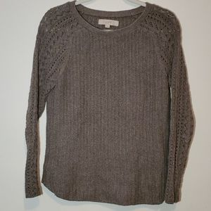 LOFT Brown Cable Knit Sweater